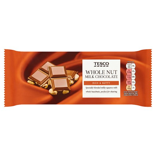 Tesco Whole Nut Milk Chocolate Bar 200G