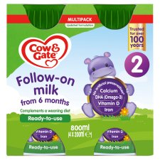 Cow & Gate 2 Follow On Milk Multipack 4X200ml Ready To Feed Liquid