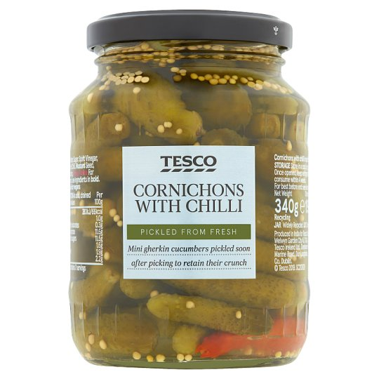 Tesco Cornichons With Chilli 340G