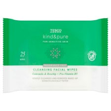 Tesco Kind And Pure Sensitive Facial Wipes 25Pk