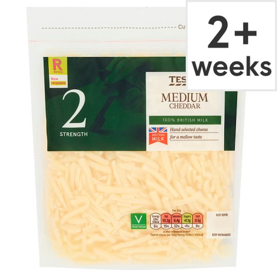 Tesco British Medium Grated Cheddar Cheese 250 G