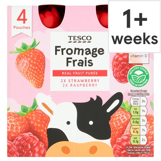 Tesco Fromage Frais Strawberry Raspberry Pouches 4 X 80G