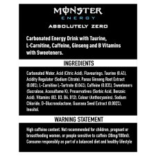 image 2 of Monster Absolute Zero Drink 500Ml