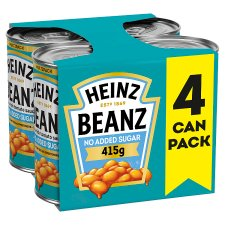 Heinz Baked Beans No Added Sugar In Tomato Sauce 4 X415g