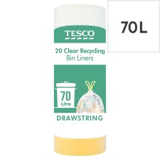 Tesco 20 Drawstring Clear Recycling Bin Bags X 70L