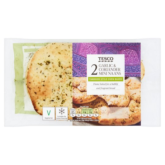 Tesco 2 Garlic And Coriander Mini Naan 100G
