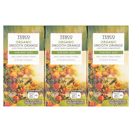 Tesco Organic Orange Juice 3X200ml