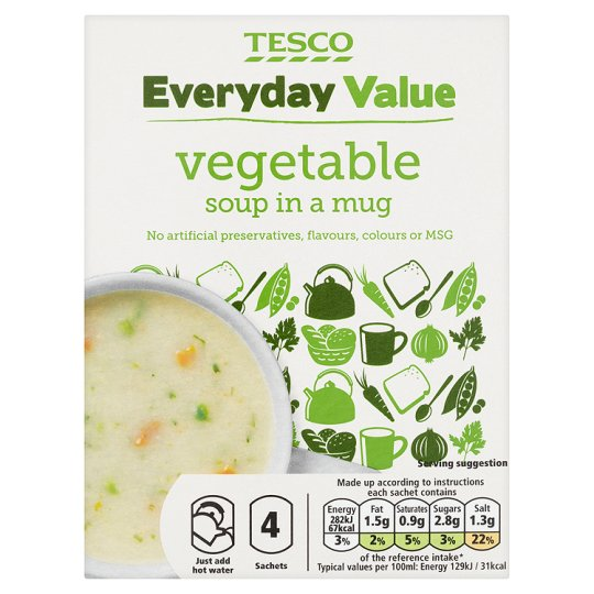 Tesco Everyday Value Vegetable Soup In A Mug 4 Pack 104G
