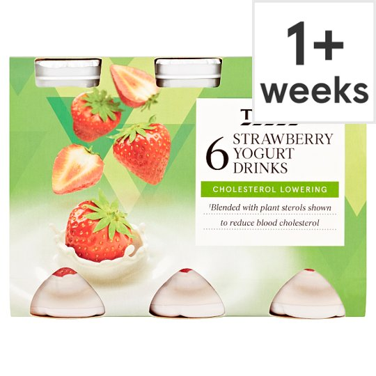 Tesco Cholesterol Reducing Strawberry Yogurt Drink 6 X100g