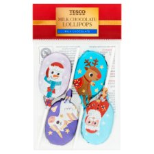 Tesco Christmas Chocolate Lollies 4 Pack 40G