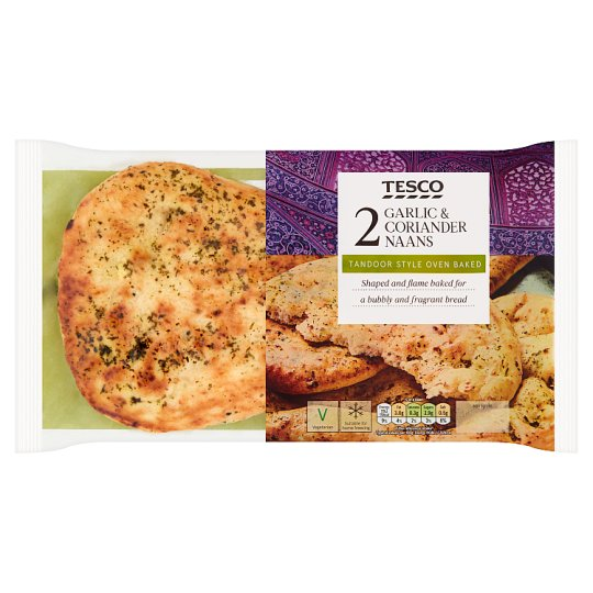 Tesco Garlic And Coriander Naans 2 Pack