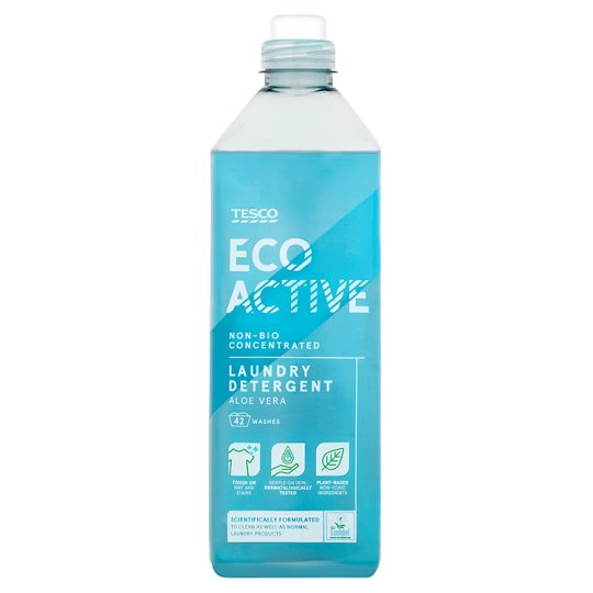 tesco eco active non biological aloe vera laundry detergent 1 5l