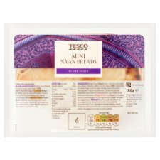 Tesco Mini Plain Naan 4Pack 188G
