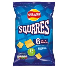Walkers Squares Salt And Vinegar Snacks 6 X 22 G