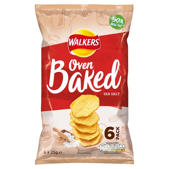 Walkers Baked Ready Salted Crisps 6 X 25 G