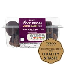 Tesco Free From Double Chocolate Mini Muffin 12 Pack