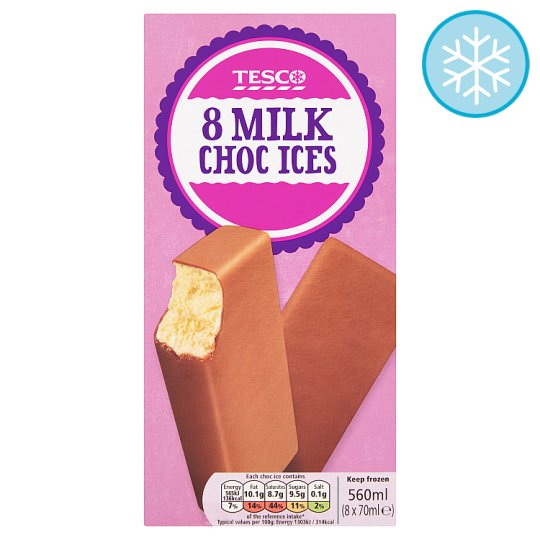 Tesco Milk Chocolate Ices 8 X 70Ml