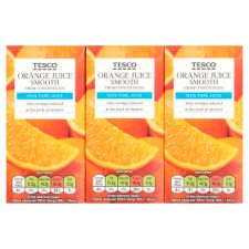 Tesco Smooth Orange Juice 3X200ml