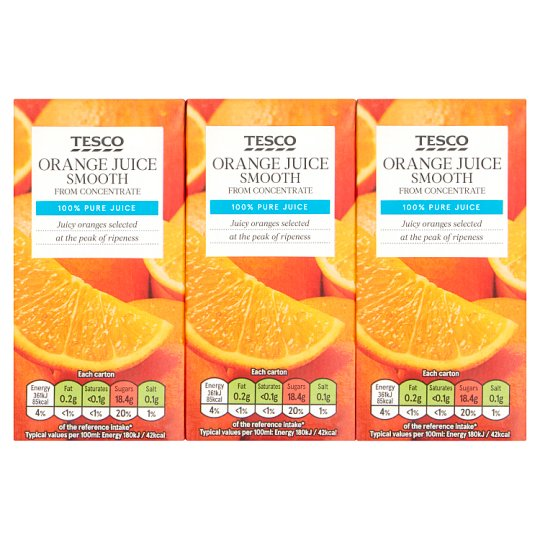 Tesco Pure Orange Juice 3X200ml