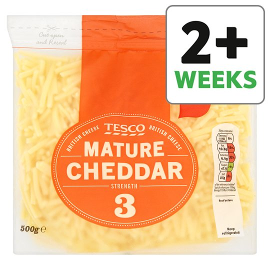 Tesco British Mature Grated Cheddar 500G