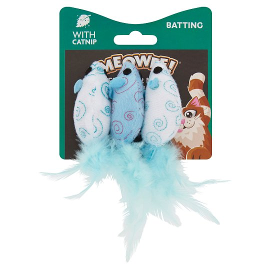 Meowee Feather Mice Cat Toy 3 Pack