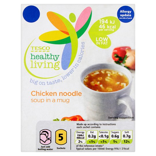 Tesco Healthy Living Chicken Noodle Soup In A 5Mug 5 Pack 65G