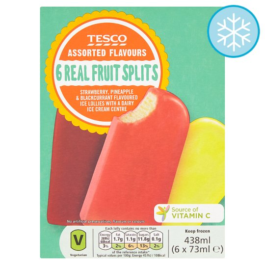 Tesco Real Fruit Splits 6 X 73Ml