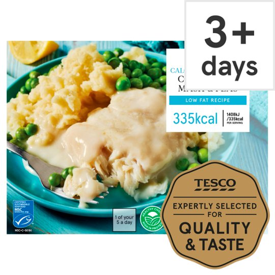 Tesco Cod Mornay With Mash And Peas 380G