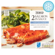 Tesco 2 Salmon Fillets In Sweet Chili Sauce 340G