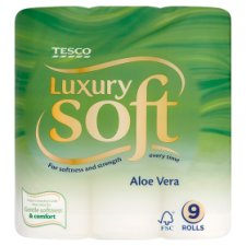 Tesco Luxury Soft Toilet Tissue 9 Roll Aloe Vera