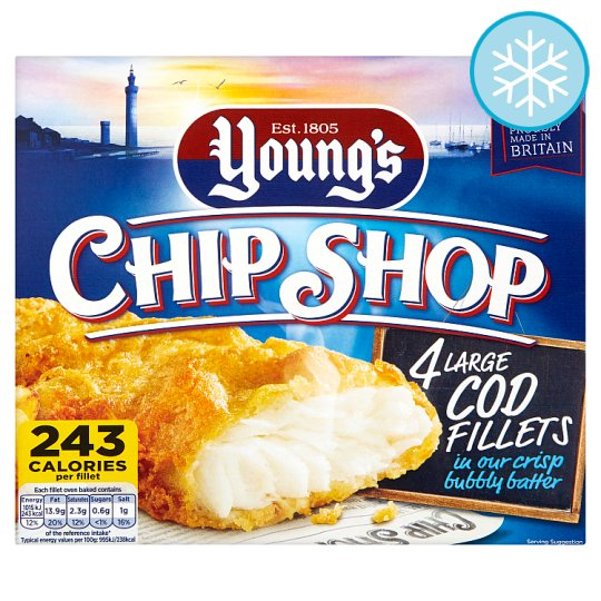 Youngs Chip Shop 4 Large Cod Fillets 480G - Groceries ...