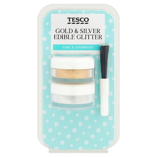 Tesco Lustre Edible Gold And Silver 2.1G