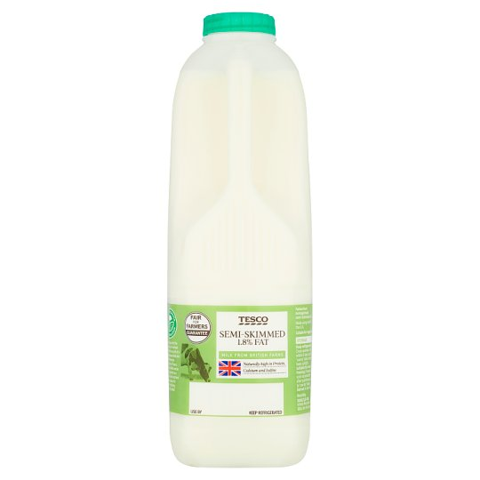 Tesco British Semi Skimmed Milk 1.13L, 2 Pints