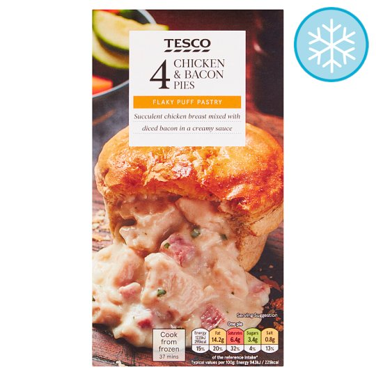 Tesco 4 Chicken And Bacon Pies 568G