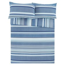 Tesco Blue Basic Stripe Duvet Set Single
