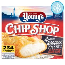 Youngs Chip Shop 4 Large Haddock Fillets 480G