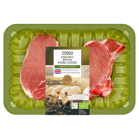 Tesco Organic Pork Chops 350G