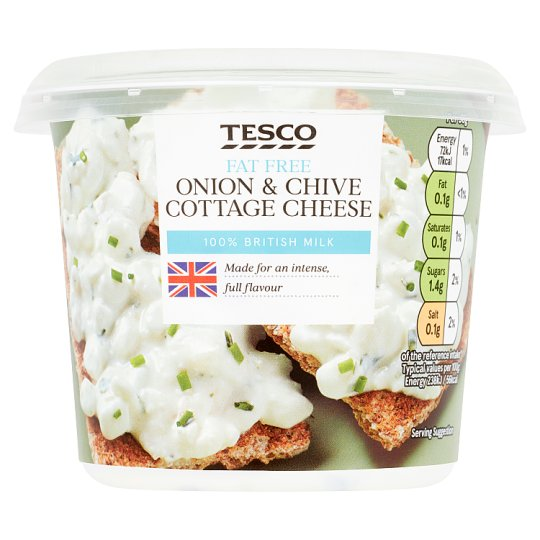 Tesco Onion And Chive 0% Fat Cottage Cheese 300G