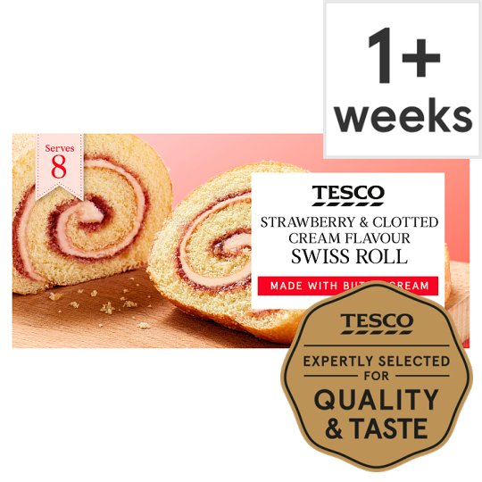 Tesco Strawberry And Cream Swiss Roll