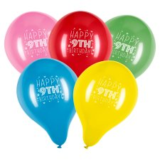Tesco 10 Pack Happy Birthday Balloons Age 9
