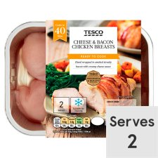Tesco Cheese And Bacon Chicken Breasts 2 Pack 385G