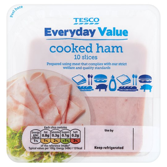 Tesco Everyday Value Ham 113G
