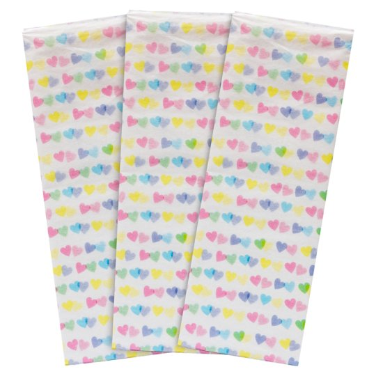 Tesco Pastel Hearts Tissue Pack 3 Pack