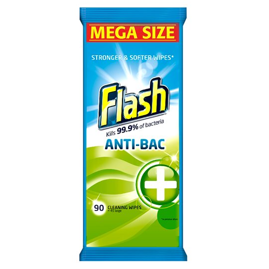 Flash Cleaning Wipes Antibacterial 90 Pack