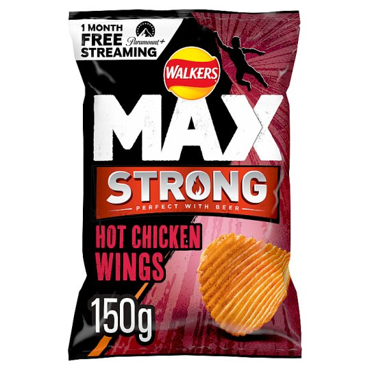 image 1 of Walkers Max Strong Hot Chicken Wings Crisps150g