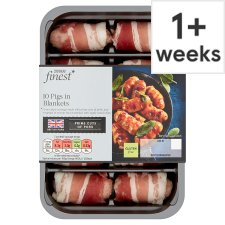 Tesco Finest 10 British Pork Cocktail Sausages In Streaky Bacon 210G