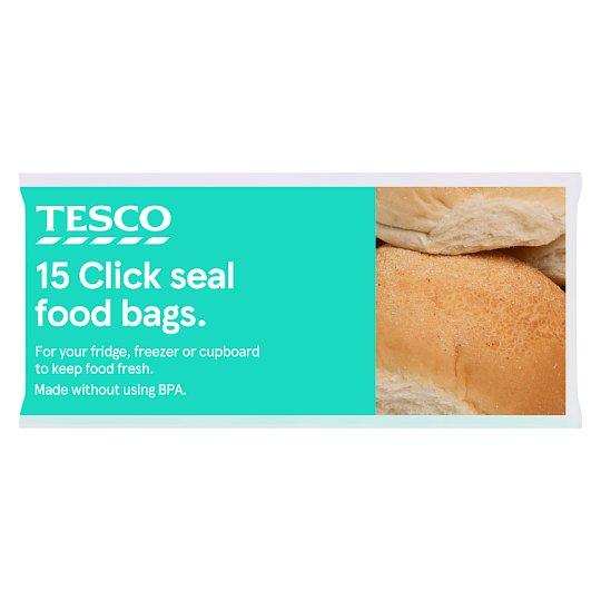 Tesco Food Bags Click And Seal Xl 15 Pack