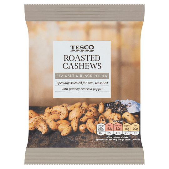 Tesco Sea Salt And Black Pepper Cashew Nuts 150G