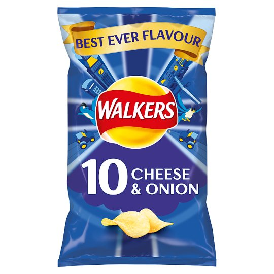Walkers Cheese And Onion Crisps 10 X 25G