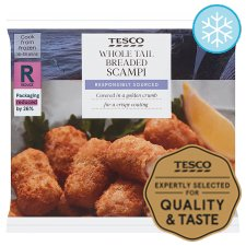 Tesco Wholetail Breaded Scampi 280G